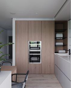 Danchenko on Behance Kitchen Time, Kitchen Dinning, Kitchen Corner, Home Decor Kitchen, Kitchen Furniture, Kitchen Interior, Home Kitchens, Flat House Design, Contemporary Kitchen Cabinets