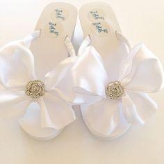 A personal favorite from my Etsy shop https://www.etsy.com/listing/169244075/handmade-bridal-flip-flops-wedding-flip