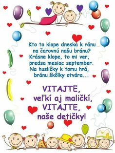 Škôlkari Ms, September, Education, School, Educational Illustrations, Learning, Studying