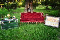 vintage red sofa