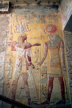 Section of the Ancient Egyptian Tomb Of Merneptah, of the Valley of Kings. Dates to about 1203 BC. depicts Merneptah and Ra-horaht, Merneptah was the 4th ruler of the 19th Dynasty of Ancient Egypt.