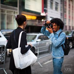 #NYFW #behindthescenes with @aagdolla - one of my favorite NYC street photographers follow him for great street style and urban landscapes (and us too ) @streetvues | streetvue.co  #newyork #streetstyle #streetphotography #style #fashion #primeshot #photographer #modelsoffduty #denimondenim