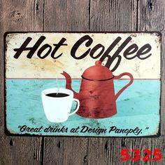 Hot Coffee Vintage Metal Pub Wall Tavern Garage Shabby Decor Chic Home Bar Vintage Sign Tin Plaque Vintage Tin Signs, Vintage Cafe, Look Vintage, Vintage Metal, Retro Vintage, Wall Art Crafts, Wall Art Decor, Paper Crafts, Metal Bar