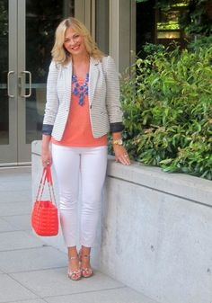 blue white stripes and coral