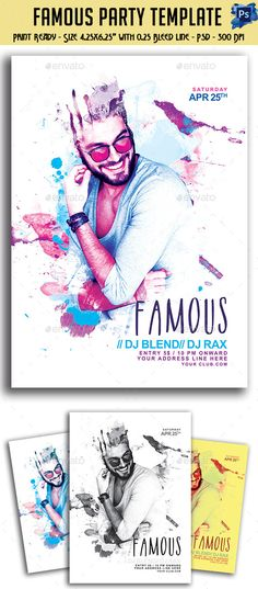 Famous Party Flyer — Photoshop PSD #saturday #day • Available here → https://graphicriver.net/item/famous-party-flyer/11297691?ref=pxcr