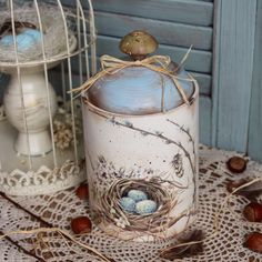 Tin Can Crafts, Jar Crafts, Easter Crafts, Decoupage Jars, Decoupage Vintage, Pottery Painting Designs, Candle Craft, Dollar Tree Crafts, Egg Art