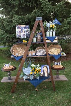 Denim Graduation Party Theme. Make display shelves from a ladder.