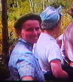 Esther on a nature walk in a National Park.  I clipped this image from a Super 8 film taken by her husband Guy in the 50's.