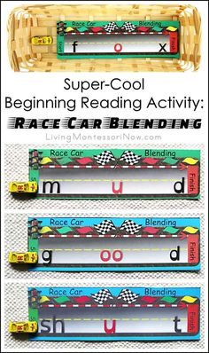 """This super-cool beginning reading activity uses a fun racing printable and miniature race car to reinforce phonetic blending (""""sounding out""""). Post contains Montessori Monday linky collection."""