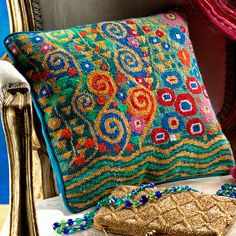 Klimt Jade - Ehrman Tapestry A beautiful design with strong jewel colours from Candace Bahouth