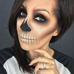 Easy skull Halloween makeup www.youtube.com/cflowermakeup