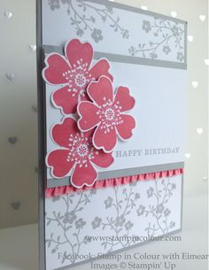 Stampin' Up Morning Meadow with Stretch Ruffle Trim, Smoky Slate ands Strawberry Slush1-001