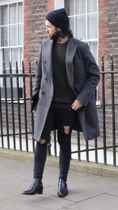 coat | jeans | boots | black and grey outfit