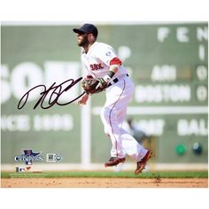 "Dustin Pedroia Boston Red Sox Fanatics Authentic Autographed 8"" x 10"" 2013 World Series Champions Green Monster Photograph"