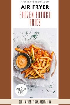 French fries is one of the most loved comfort food! It's something we love to eat with burgers.Try out this crispy air fryer frozen French fries! This air fryer recipe is simple and easy. The French fries you can make through the air fryer is healthier and crispier, without the oil! Have this side dish for family dinners, lunch, or even movie nights or game days. Your family will enjoy this healthy, gluten-free, and vegetarian side dish. #airfryerrecipes #airfryerfrozenfrenchfries #glutenfree
