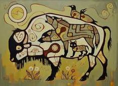 Prolonging Life, by Vasiliy Mushyk, Ukraine. In the tradition of Norval Morrisseau, Anishnaabe artist who taught non-natives in The Woodland style. Native American Symbols, Native American Artists, Kunst Der Aborigines, Buffalo Art, Native Canadian, Woodland Art, Religious Pictures, Winter Quilts, Indigenous Art