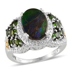 Canadian Ammolite (Ovl 3.50 Ct), Russian Diopside, Diamond Ring in ...