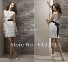 Wholesale - 2012 short sleeves Lace wedding dresses with Knee Length Black Sashes G4004, Free shipping, $128.8-135.52/Piece | DHgate