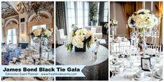 Edmonton Event Planner - James Bond Black Tie Gala Theme - Beautiful sequin table cloth and anemone flowers