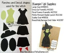 www.PattyStamps.com - wicked witch punch art fun with Stampin' Up! Dress Up framelit and punches