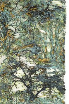 Lesley Richmond – Forest Scape uses detailed fabric manipulation and strong but harmonious colours (great example of how impressionism might be represented through textile art) Thread Art, Thread Painting, Silk Thread, Textile Fiber Art, Textile Artists, Textiles Techniques, Art Techniques, Felt Art, Fabric Art