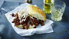 BBC - Food - Recipes : Pulled beef brisket in a milk bun - Tom Kerridge Milk Bun, Tom Kerridge, Pulled Beef, Cooking Recipes, Slow Cooking, Pork Recipes, Recipies, Tray Bakes, Sandwiches