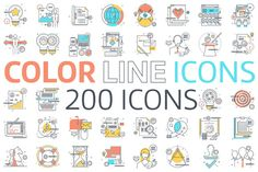 Color line icons by howcolour on @creativemarket