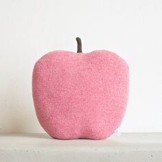 Apple shaped cushion/soft toy - medium size color red. €42.00, via Etsy.