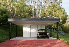 The carport shelters the Barils' 1977 Porsche Targa S. Carport Sheds, Carport Garage, Pergola Carport, Pergola Canopy, Cheap Pergola, Pergola Patio, Pergola Plans, Pergola Ideas, Detached Garage