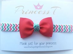 Girls/Baby Headband Red Bow w/ Chevron by BowtiquebyprincessT