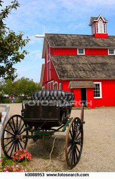Buggy and Barn. A red barn and old-fashioned buggy on a farm in Santa Paula, Cal , Country Barns, Amish Country, Country Life, Country Living, Country Roads, Country Charm, Farm Barn, Old Farm, Amish Community