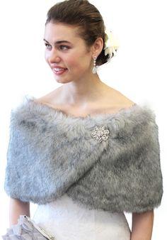 Bridesmaid idea? Grey Chinchilla Faux Fox Fur Wrap Stole Shrug by TionDesign, $39.99