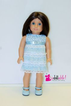 Pretty sky blue ruffle dress by AdollablebyRita on Etsy. Free Simple Ruffle Dress pattern. Find it here http://www.pixiefaire.com/collections/doll-tag-clothing/products/free-simple-ruffle-dress-18-doll-clothes. #pixiefaire #freesimpleruffledress