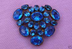 Antique 20s Art Deco Blue Open Back Set Czech Crystal Rhinestone Dress Fur Clip   eBay