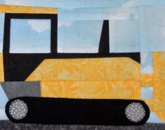 Bulldozer or earthmover paper pieced PDF quilt pattern; road construction equipment pattern; boy quilt pattern; foundation pieced quilt