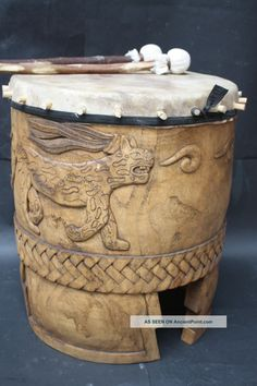 Xxl Huehuetl Drum Mexican Aztec Antique Musical Percussion Ethnic Instrument ancientpoint.com
