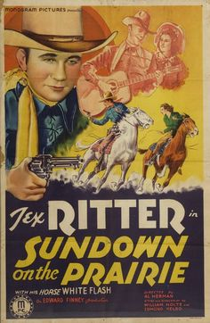 Sundown On The Prairie Us Poster Art Top Left: Tex Ritter 1939 Movie Poster Masterprint Tex Ritter, Uk Images, Image Categories, Western Movies, American Actors, Westerns, Monogram, Black And White, Canvas