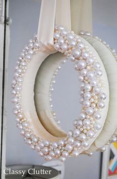 DIY Wintery Pearl wreath from Classy Clutter-Wait, add pearls all around sides as well, then glue a round mirror to the back. Wreath Crafts, Diy Wreath, Door Wreaths, Diy Crafts, Wreath Ideas, Christmas Holidays, Christmas Wreaths, Christmas Decorations, Xmas