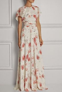 Floral print maxi chiffon dress with scoop back by NelliUzun   New ...