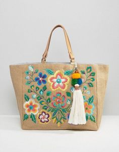 Buy Star Mela Multi Embroidered Beach Tote Bag at ASOS. Get the latest trends with ASOS now. Jute Tote Bags, Beach Tote Bags, Reusable Tote Bags, Womens Purses, Womens Tote Bags, Online Bags, Bag Making, Purses And Bags, Bargello