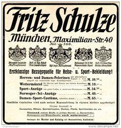 Original-Werbung/ Anzeige 1911 - REISE - UNS SPORTBEKLEIDUNG FRITZ SCHULZE - MÜNCHEN  - ca. 130 x 140 mm