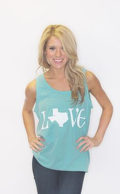 Riffraff | Love Texas Comfort Colors Tank - washed seafoam