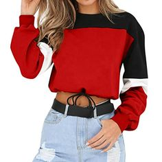 ea4df6443c6 Women Sweatshirts and pullovers autumn long sleeve casual Long Sleeve  Splcing Color Pullover Tops fashion