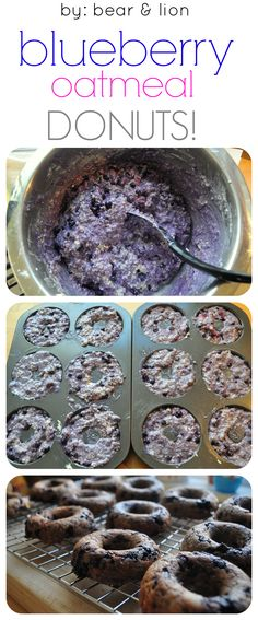 These blueberry oatmeal muffin donuts make a yummy, healthy breakfast or snack! Healthy Desserts, Delicious Desserts, Dessert Recipes, Yummy Food, Tasty, Healthy School Snacks, Healthy Donuts, After School Snacks, Healthy Breakfasts