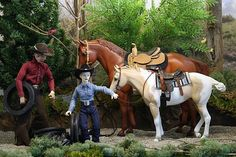 custom Breyer horse riders by Joan Yount -picking up tires in the woods
