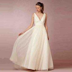 Simple Long White Wedding Dress