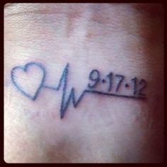 Memorial tattoo ~ My Dad's last heartbeat and date he passed. - Memorial tattoo ~ My Dad's last heartbeat and date he passed. Date Tattoos, Tattoos Skull, New Tattoos, Small Tattoos, Tattoos For Guys, Tattoo Shirts, Wrist Tattoos, Tattoo Tod, Rip Tattoo
