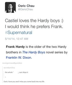 """Osric Chau's tweet during 9x22 Stairway To Heaven after Metatron's """"He's in love .. with humanity"""" line. I miss Kevin!!"""
