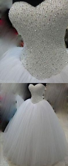 Wedding Dresses New White/Ivory Beadding Wedding Dress Bridal Gown Custom Size Wedding Gown sparkly ball gown wedding dress Disney Wedding Dresses, Cinderella Dresses, Disney Dresses, Princess Wedding Dresses, Dream Wedding Dresses, Bridal Dresses, Wedding Disney, Wedding Dress Bling, Disney Weddings