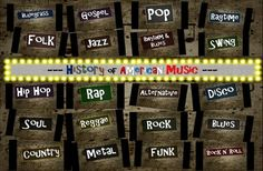 There are 20 Genres to choose from on over 400 beautifully designed slides including: ragtime, gospel, blues, jazz, country, swing, folk, pop, bluegrass, R&B (Rhythm and Blues), Rock & Roll, Soul, Rock, Funk, Reggae, Disco, Alternative, Hip Hop, Metal, Rap